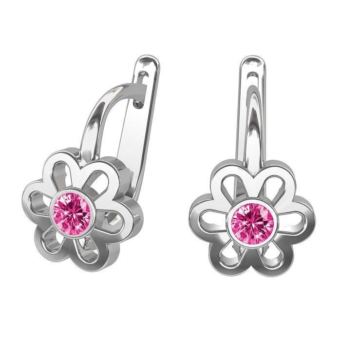 butterfly Filles Argent Boucles D'oreilles 925 Rose Vrais Swarovski Elements Fleur Emballage Cadeau Enfant Fille Bijoux