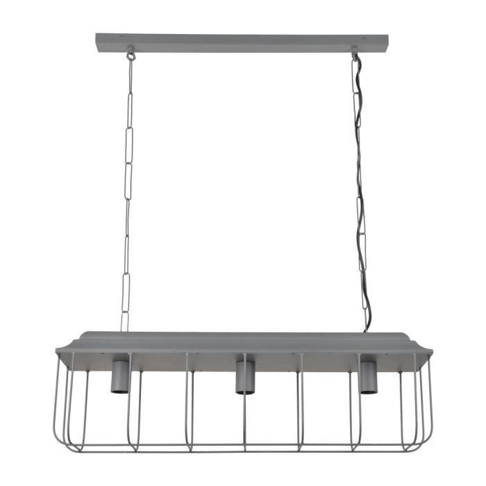 COREP Suspension en métal Mansfield 3L - H 96 cm - E27 - 40 W - Gris anthracite mat