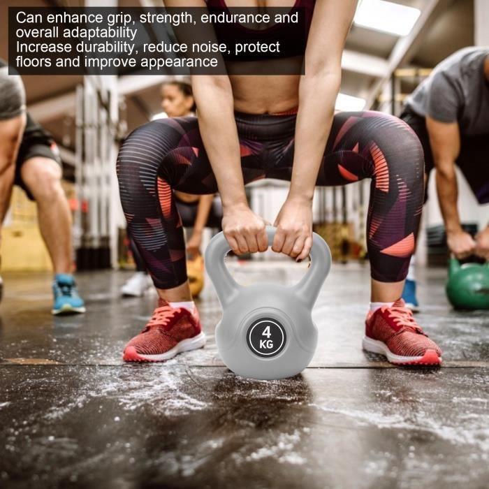 LAT-4KG Kettlebell Sports Haltérophilie Haltère Grip Musculation Équipement de Fitness (Gris)-Dilwe