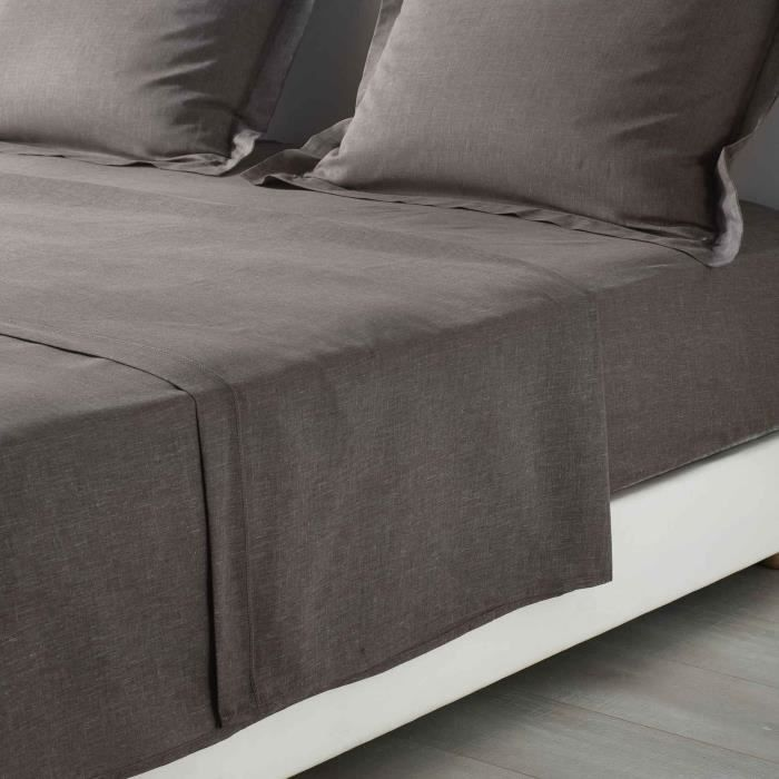 CDAFFAIRES-Drap plat 2 personnes 240 x 300 cm polycoton uni actually +p. bourdon Noisette