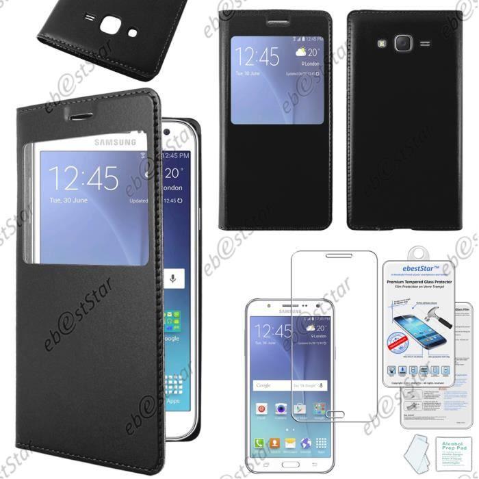 ebestStar Housse Pochette Protection Coque Etui type S-View Samsung Galaxy J5 SM-J500F, Noir +Film Verre Trempé