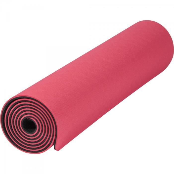 Tapis de Yoga - pilates - en TPE - double face bicolor noir et rouge de 180cm x 60cm x 0,6cm