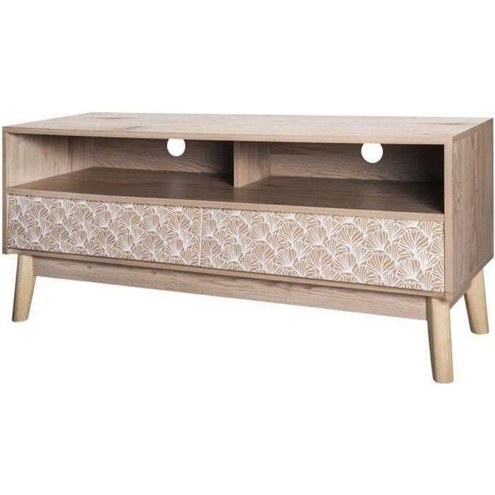 Meuble TV 2 tiroirs - Bois et motifs - L 120 x P 40 x H 50 cm - SOFIA
