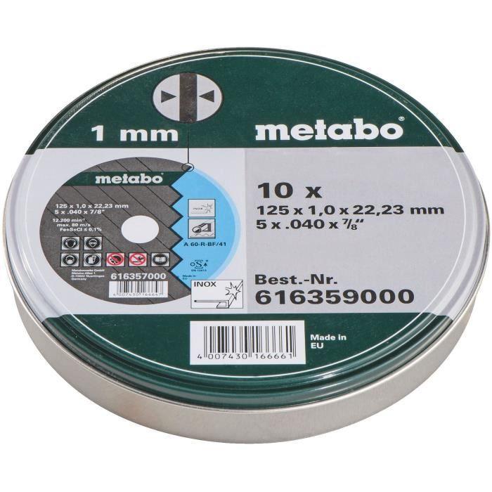 METABO Coffret métal de 10 meules en inox pour meuleuse