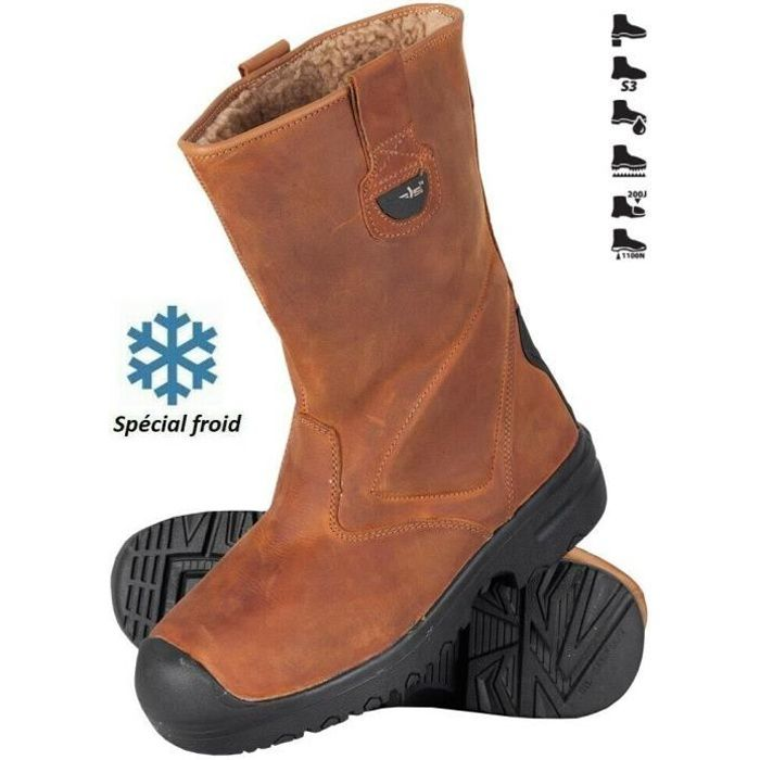 Botte de sécurité cuir fourrée S3, chaussure de travail montante chantier X-PRO