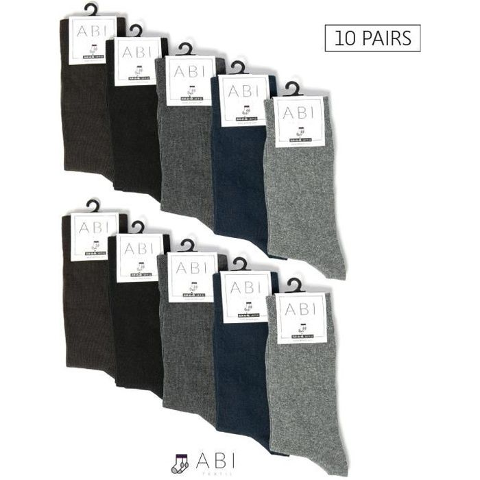 ABI - Chaussettes classiques Couleur mixte Homme Femme Coton (10 Paires)