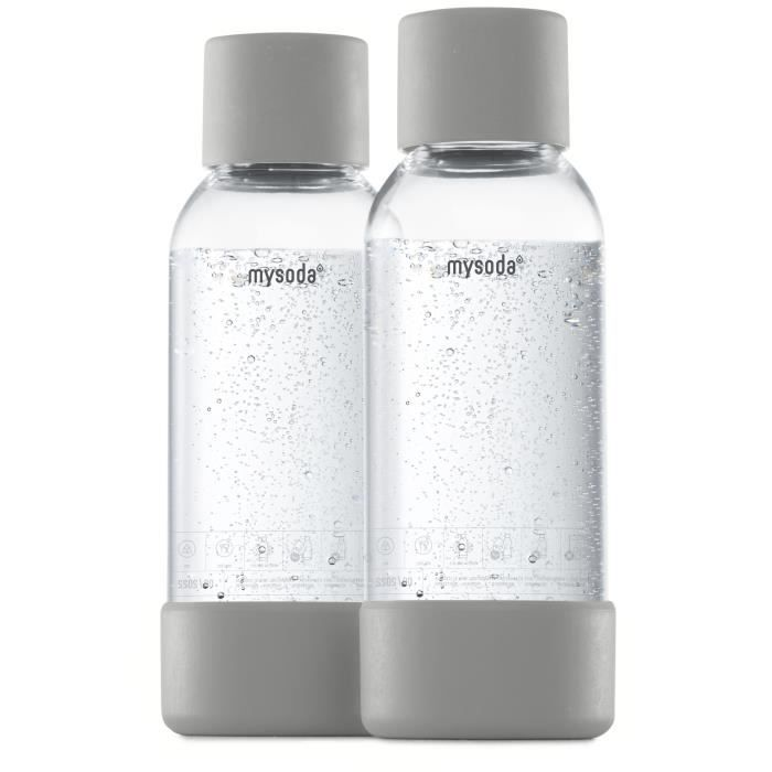 MYSODA - Pack de 2 bouteilles Gray PET et Biocomposite 0,5L