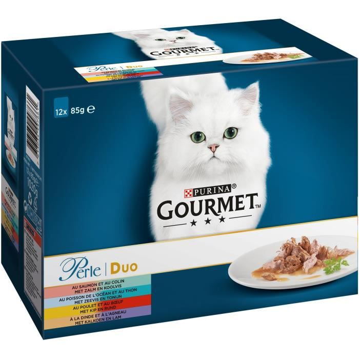 GOURMET Perle duo à la viande et au poisson - Sachets fraîcheur - Pour chat adulte - 12 x 85 g