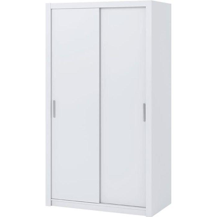 Armoire portes coulissantes - RINKER - 120 cm - blanc