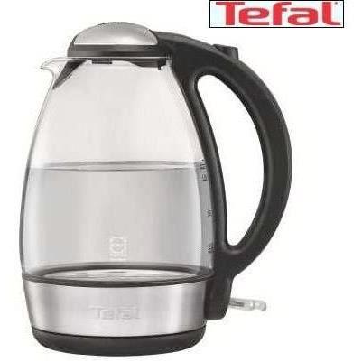 Tefal ki7208Bouilloire en verre, filtre anti-calcaire, sans fil, 2400W, 1,7L, Schott Verre/Acier Inoxydable