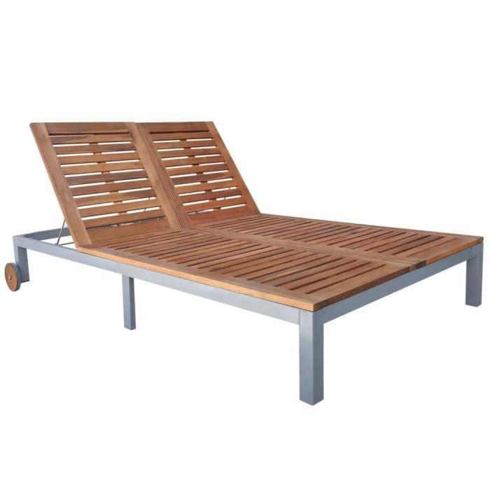 Chaise longue double Bois d'acacia solide 207x130x88 cm - Brun - Meubles/Meubles de jardin/Sièges d'extérieur/Bains de soleil -
