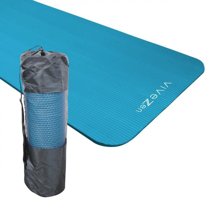 Tapis de yoga, de gym, d'exercices 180 x 60 x 1,2 cm + sac de transport - Bleu