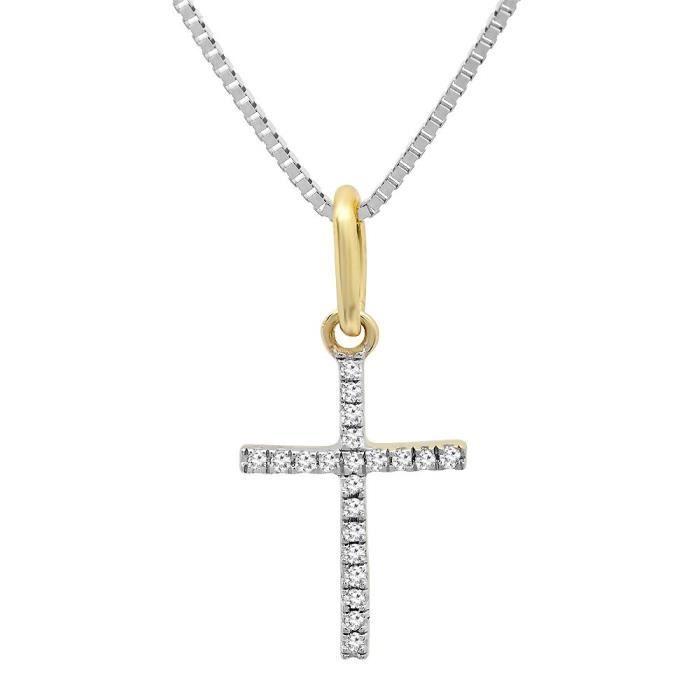 PENDENTIF VENDU SEUL Femmes 0,06 Carat (CTW) 14k ronde de diamant d'or