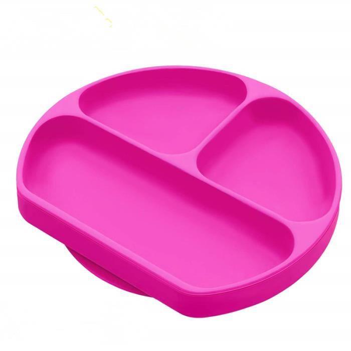 Assiette /à ventouse pour b/éb/é silicone solide et /épaisse plaque dalimentation antid/érapante pour tout-petits Les enfants avec une forte aspiration set de table pour b/éb/é avec compartiments