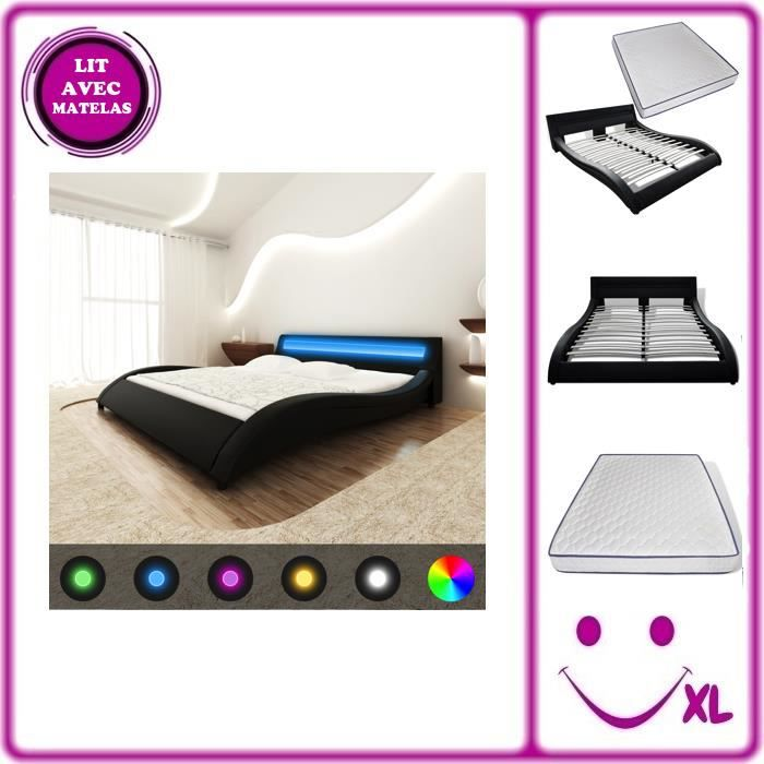 lit en similicuir avec t te de lit led 140 cm noir matelas. Black Bedroom Furniture Sets. Home Design Ideas