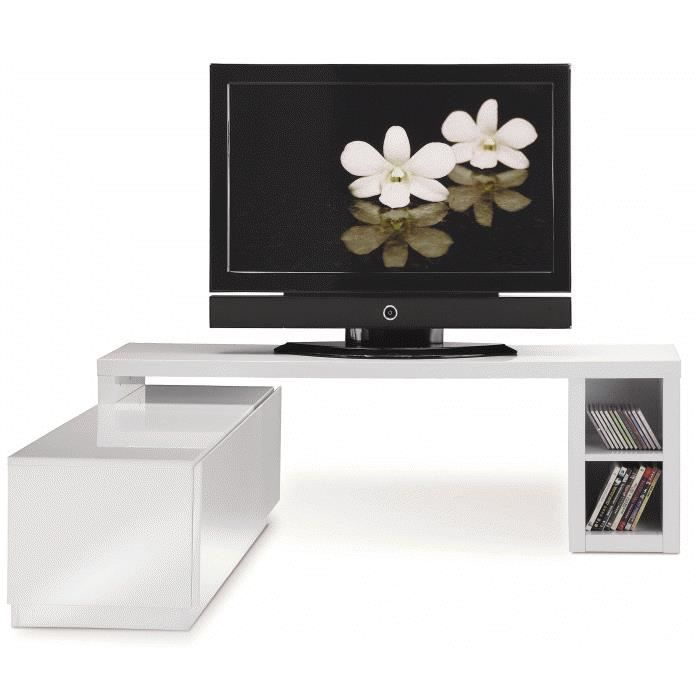 meuble tv modulable laqu blanc achat vente meuble tv meuble tv modulable laqu b cdiscount. Black Bedroom Furniture Sets. Home Design Ideas