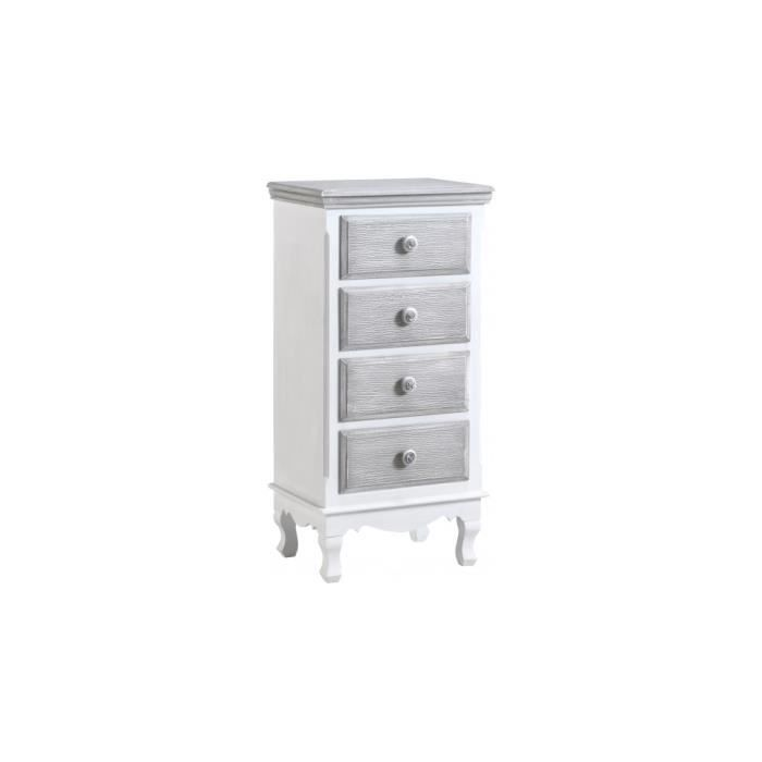chiffonnier pin massif blanc 4 tiroirs gris blanchi achat vente chiffonnier semainier. Black Bedroom Furniture Sets. Home Design Ideas
