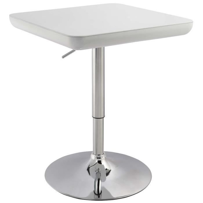 Table de bar carr 60 cm r glable blanc laqu achat for Achat table bar