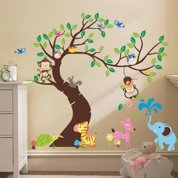 STICKERS Stickers muraux Enfant arbre et animaux mignons -