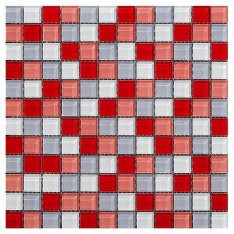 CARRELAGE - PAREMENT MOSAÏQUE EN VERRE CARREAUX ROUGE GRIS FILET CARREL