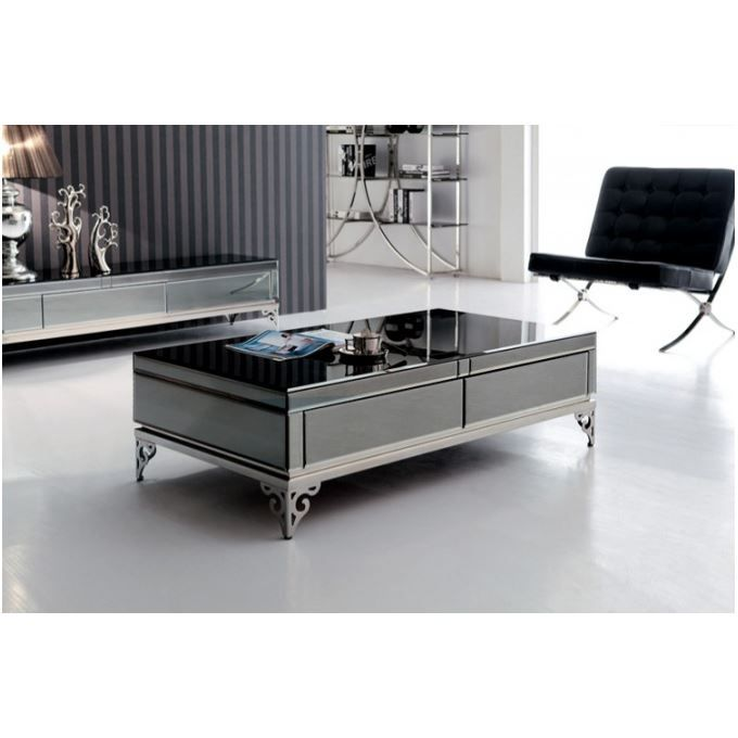 Table basse en verre tremp noir bora achat vente - Table salon verre trempe ...