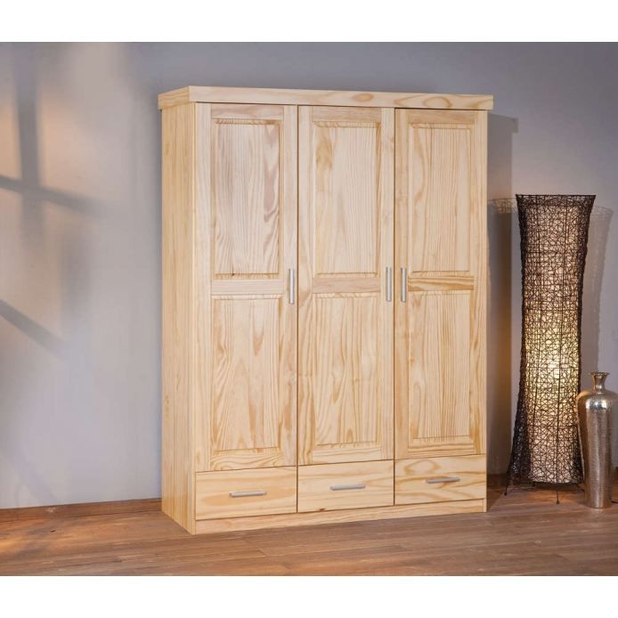 armoire 3 portes 3 tiroirs en pin massif achat vente. Black Bedroom Furniture Sets. Home Design Ideas