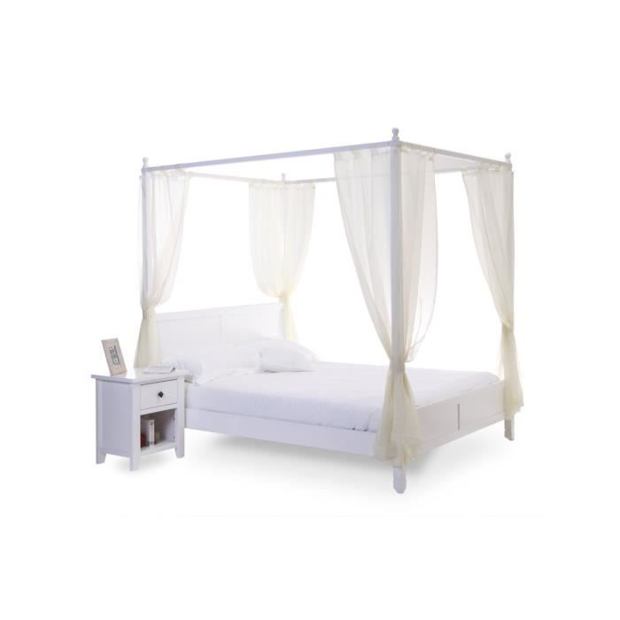 miliboo lit baldaquin romantique blanc 2 pe achat vente structure de lit lit adulte. Black Bedroom Furniture Sets. Home Design Ideas