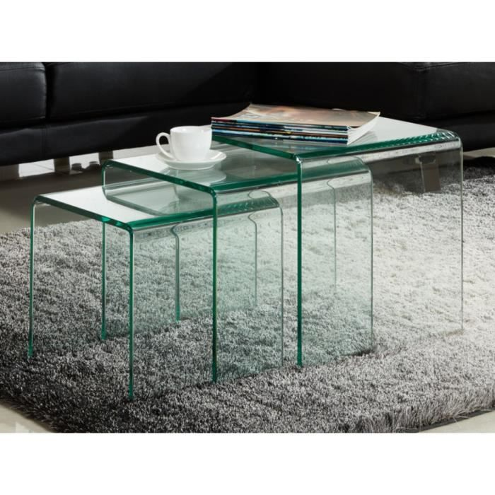 table gigogne verre achat vente table gigogne verre pas cher cdiscount. Black Bedroom Furniture Sets. Home Design Ideas