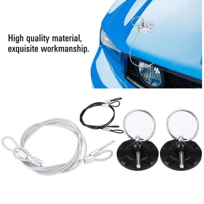 Kit de loquet de verrouillage de goupille de capot de fixation de ressorts de capot de ton argent 2 pi/èces pour voiture automatique