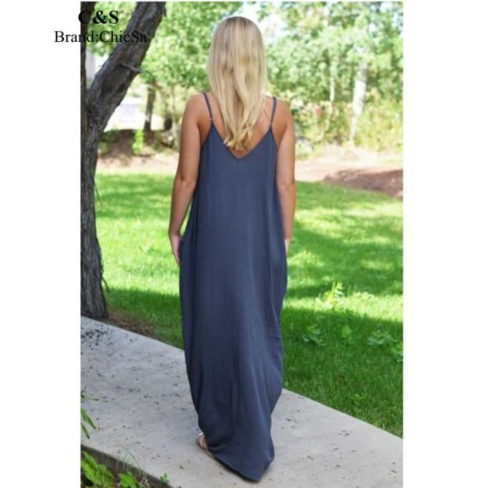 Robe Mode Couleur Solide ChicSa S Longue Femmes Rgnaqw8z