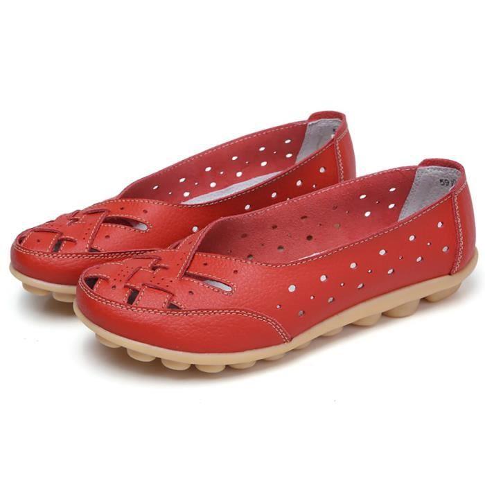 Chaussures femme Lady Flats Sandales en cuir cheville Casual Slipper Chaussures souples rouge XMM80604537RD rouge