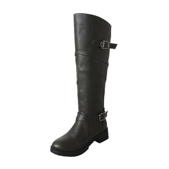 Libaib Femme Cuir Knight Buckle Femmes Faux Bottes Chaussures Martin Plat @GNUU497