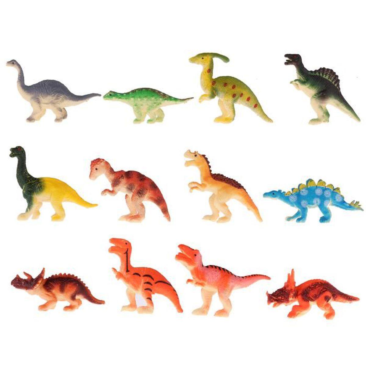 Animaux En Plastique Jouet set 12pcs dinosaures jouets figurine dinosaure en plastique