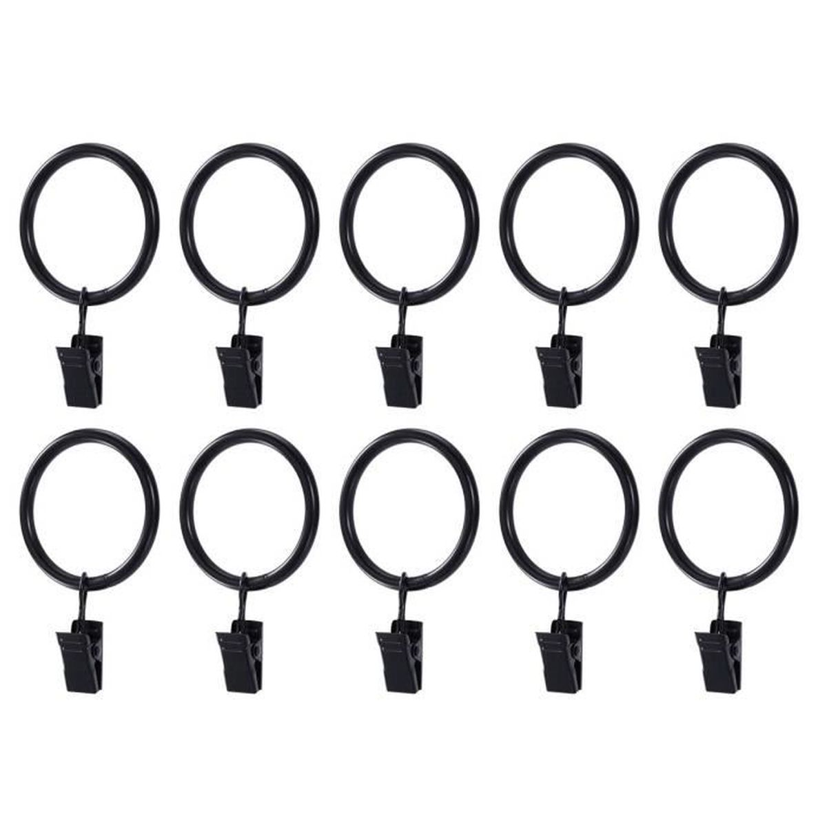 Lot de 14 Anneaux de Rideau avec Pince noir fen/être drap/é rideau clip Anneaux 50mm//2.0 Anneaux /à pince