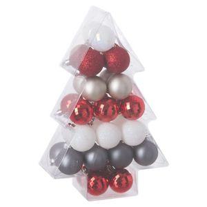 Decoration pour sapin de noel rouge argent et blanc