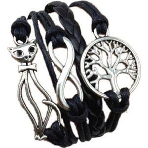 BRACELET - GOURMETTE LCC® Bracelet femme/homme Noir tissé à la main sim