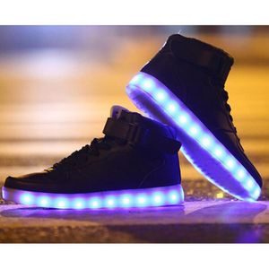 BASKET Chaussures Montante Femme Homme LED USB Rechargeab