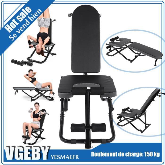 Table d'Inversion Musculation Pliable - Inversion Max de 180°, pour exercices du dos , Supporte jusqu'à 150 kg de poids