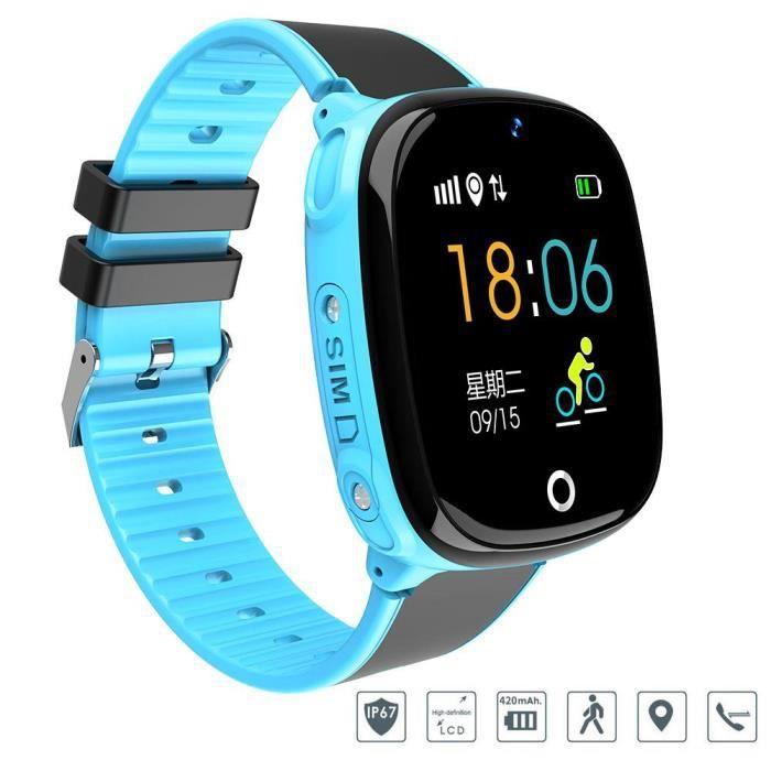 BOYOU Kid Smartwatch Gar?ons Filles Caméra étanche GPS + LBS Localisation SOS Montre téléphone portable (Bleu)
