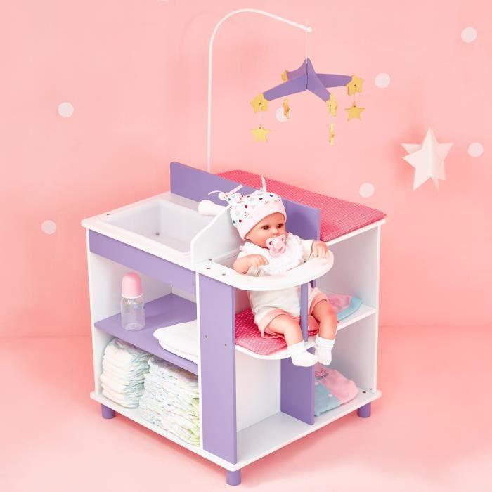 Table à langer pour poupon ou poupée avec rangement jouet Olivias Little World TD-0203A