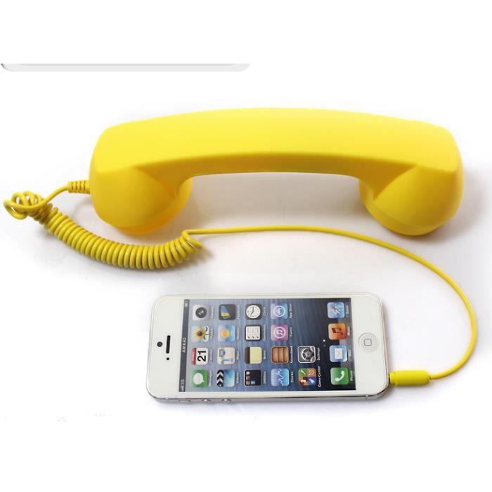 Demarkt rétro Combiné Téléphone Microphone Écouteurs filaire pour smartphones Jaune