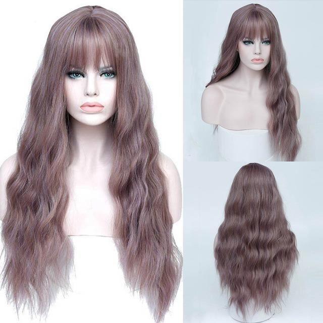 violet- perruque synthétique bouclée frange - Perruque longue résistante à la chaleur, perruque crépue pour femmes -26 pouces