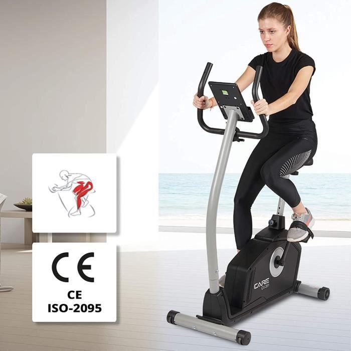CARE FITNESS - Vélo d'Appartement Motorisé CV-351 – Masse d'Inertie 10kg - Résistance Magnétique à 16 Niveaux - 7 Programmes d'Entra