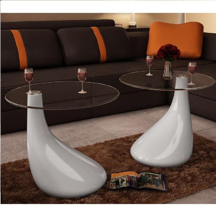 P140 Lot de 2 tables basses de salon en verre blanche brillante