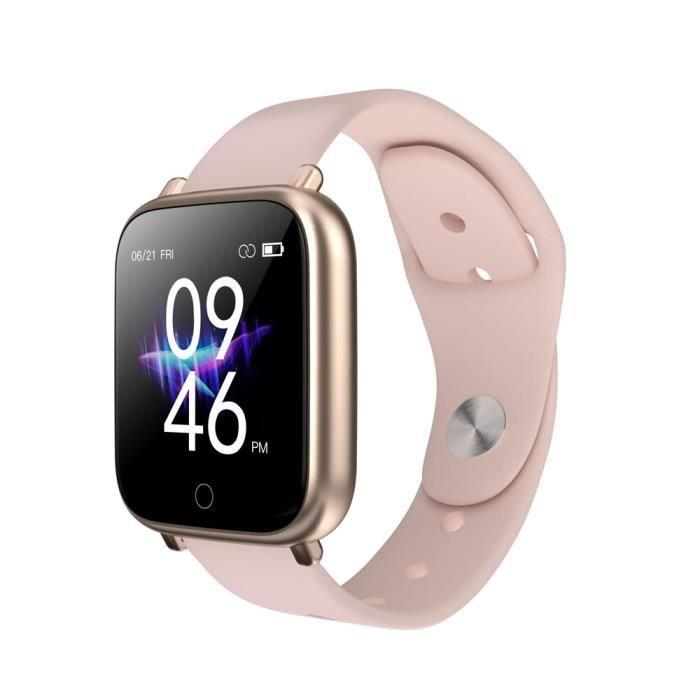 Q1S montres intelligentes sport étanche pour Iphone téléphone Smartwatch moniteur de fréquence cardiaque fonctions d - Rose - WL7005