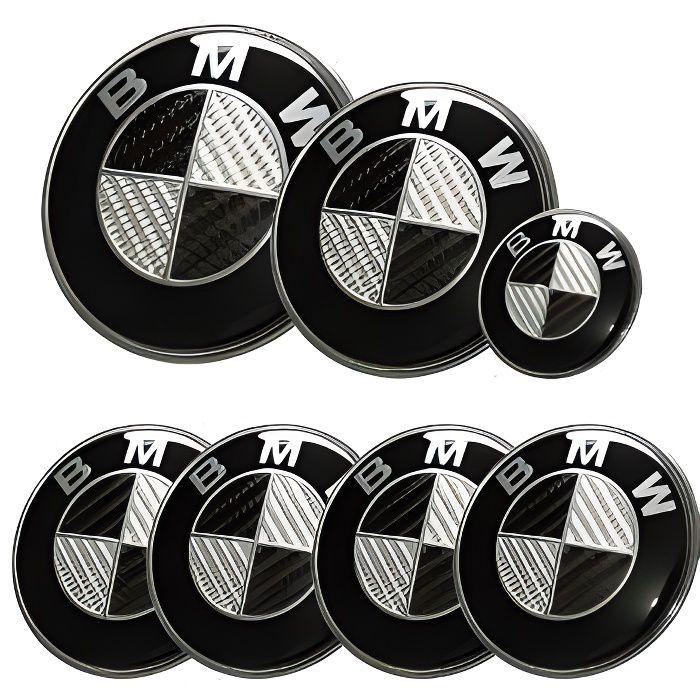 KIT 7 Badge LOGO Embleme BMW Carbone Noir Gris Capot 82mm+ Coffre 74mm +Volant + 4 x cache moyeu 68mm