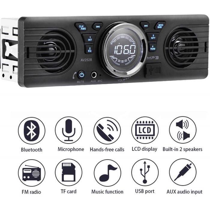 Autoradio Bluetooth,Radio Voiture, Autoradio Mains Libres Stéréo,Lecteur MP3, Enceinte intégrée 2 Haut-parleurs, 12V 1DIN FM MP3 TF