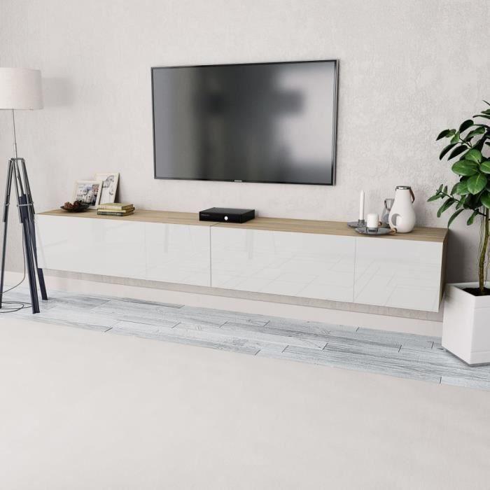 Meuble TV 2 pcs Aggloméré 120x40x34 cm Chêne et blanc brillant
