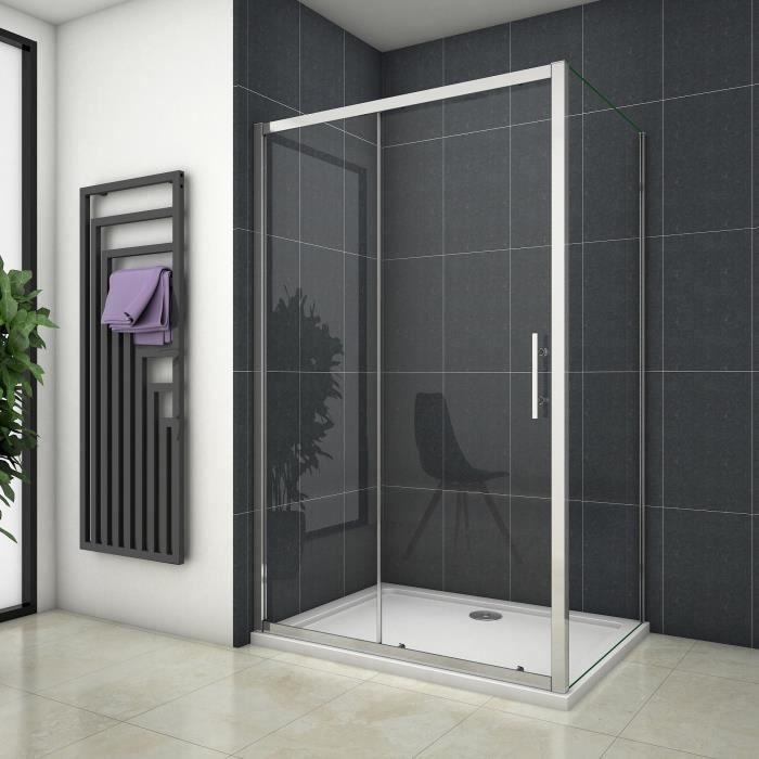 Cabine de douche 120x100x190cm porte de douche + paroi latérale