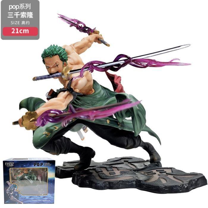 18 CM Anime une pièce trois mille monde effet PVC figurine d'action Roronoa Zoro Figurine à collectionner modèle jouets cadeau de no